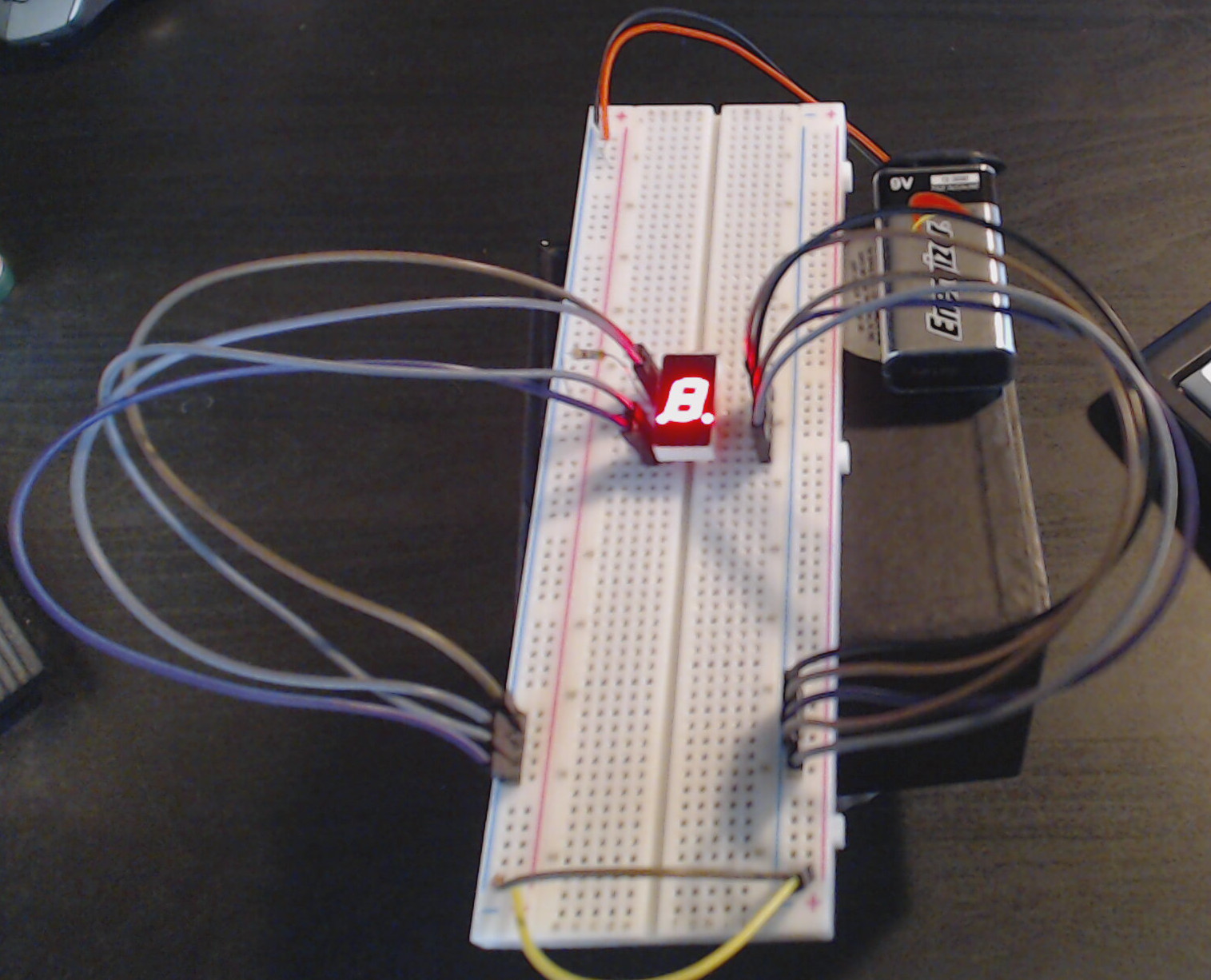 A basic circuit for powering a seven-segment display.