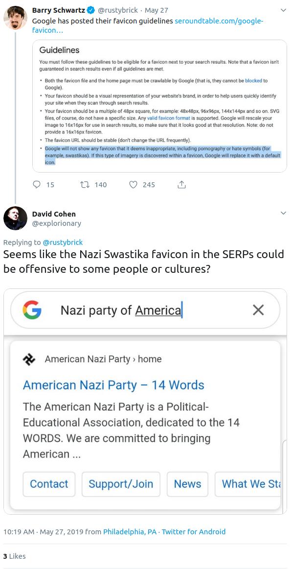 Twitter Screenshot - Swatstika Favicons are Prohibited