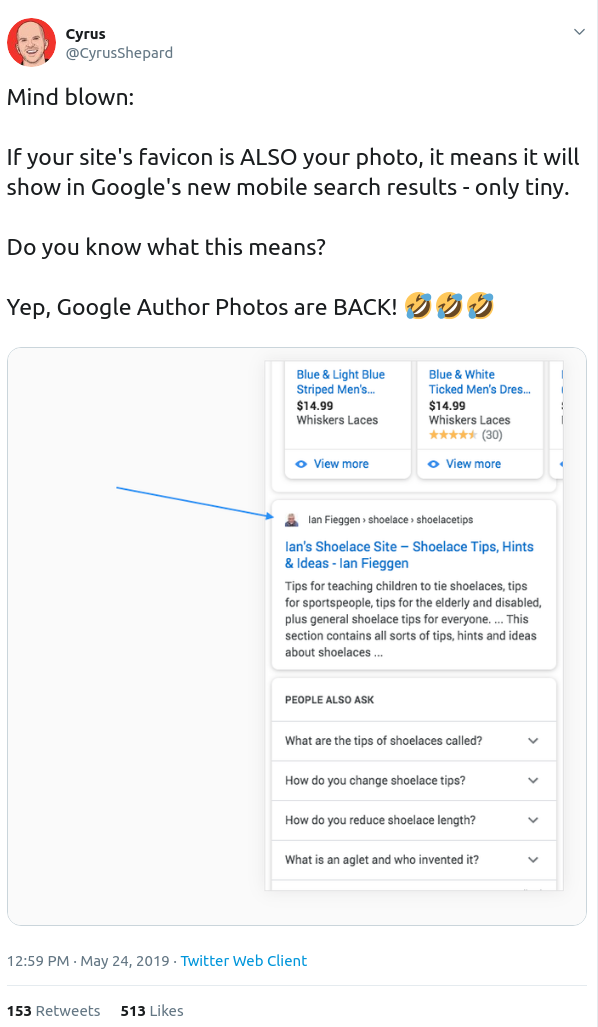 Twitter Screenshot - Favicon as Google Author Photos Replacement
