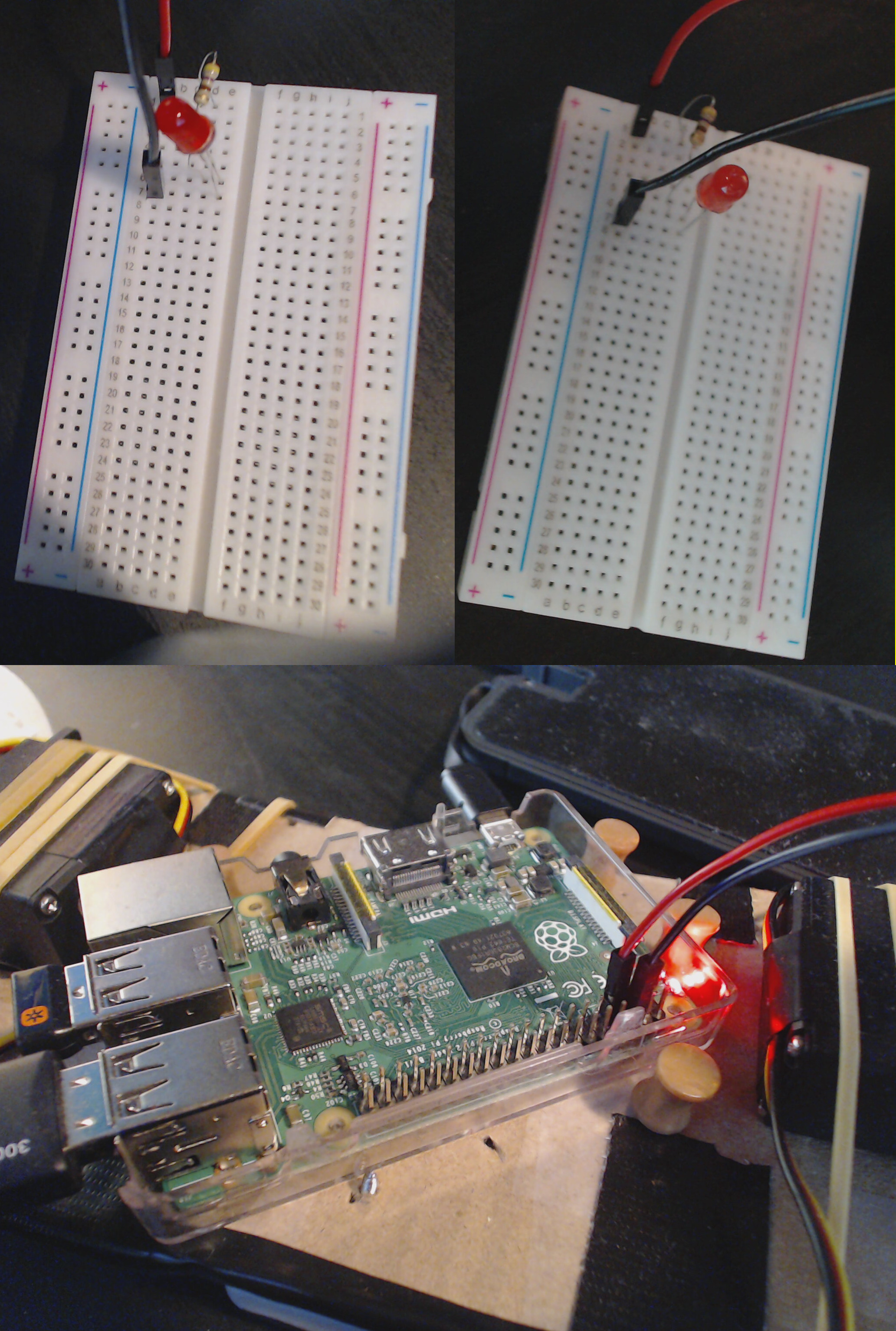 Image of a breadboard set up to light an LED via a Raspberry Pi