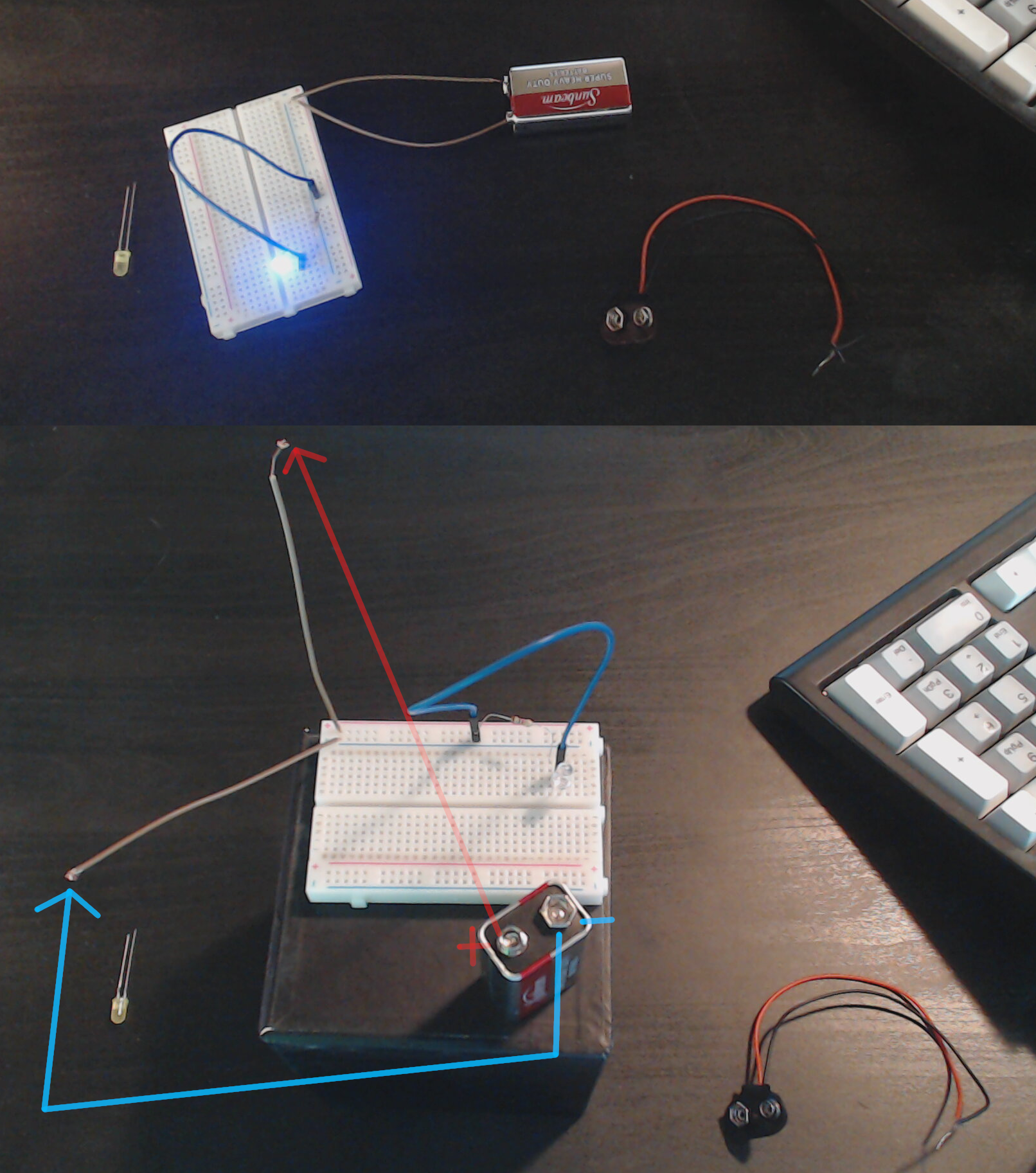 Example of powering an LED by creating a circuit with a 9V battery